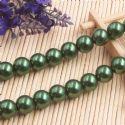 Beads, Glass Imitation pearls, Glass, Dark green , Round shape, Diameter 12mm, 7 Beads, [FZZ0067]